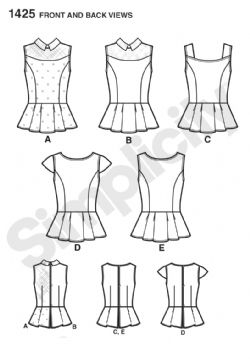 1425 Simplicity Pattern: Misses' Peplum Tops with Neckline Variations